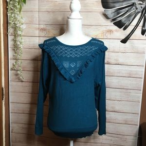 Joseph A. Blue ruffle embroidered chest sweater L